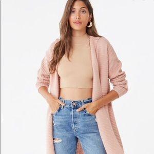 Blush Pink Long Hooded Cardigan